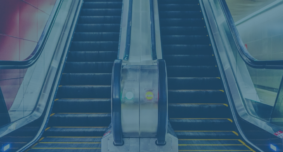 Painting of escalator with blue overlay