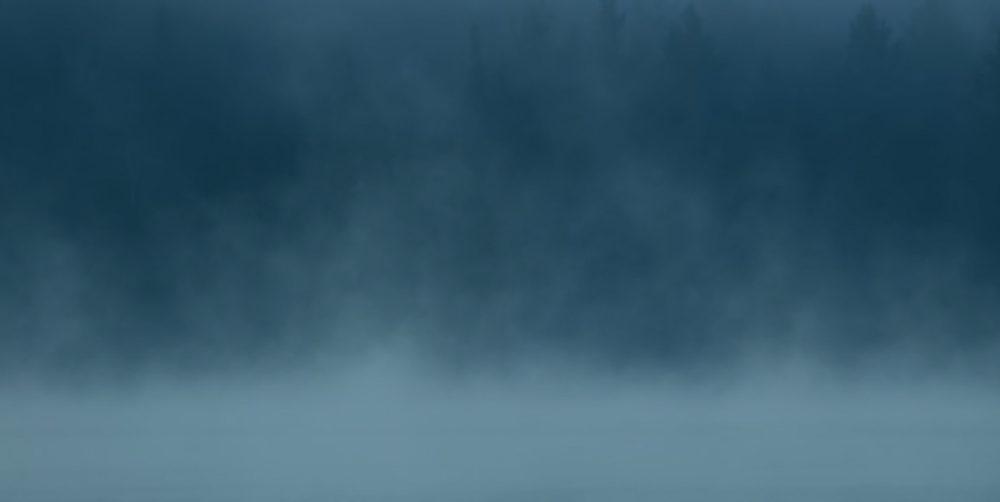 mist over lake , dark blue overlay