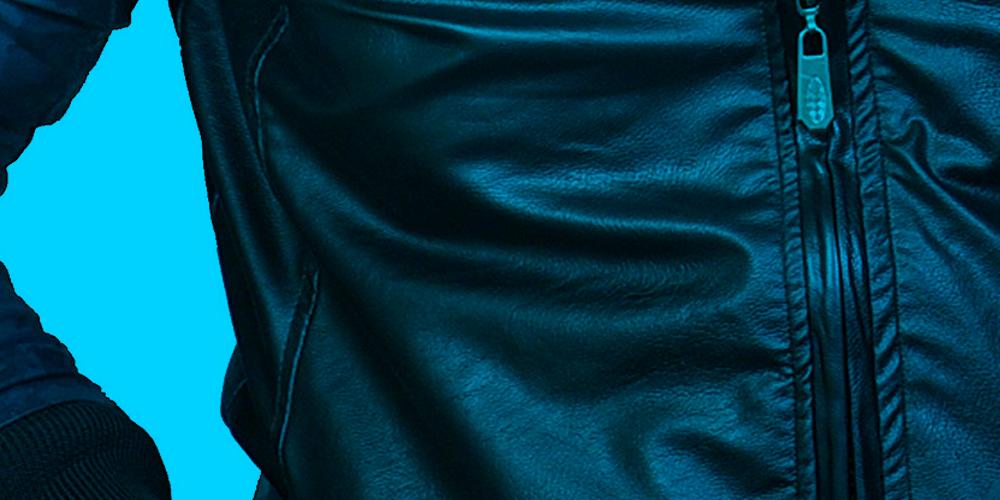 Close up of black leather jacket
